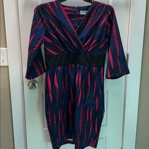 Blue and pink patterned faux wrap dress